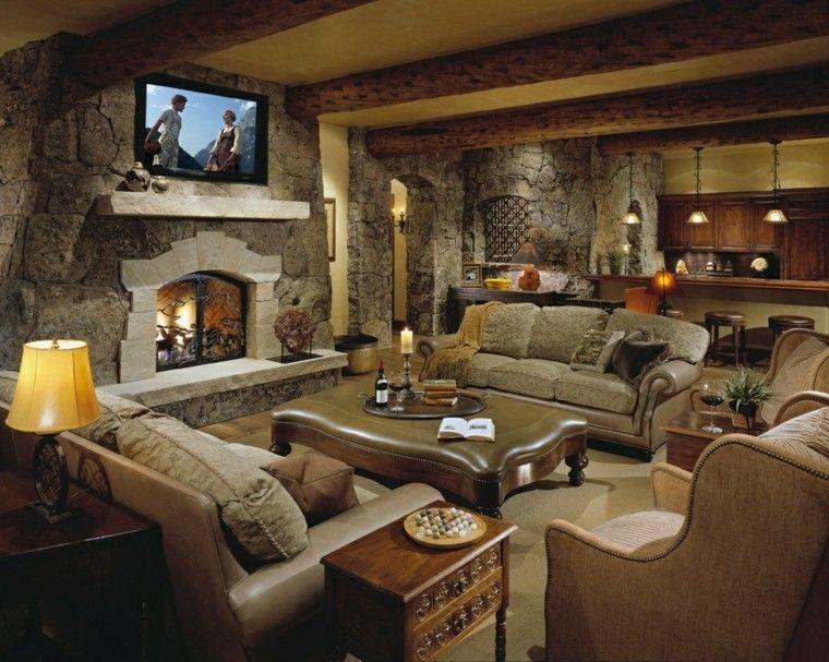 otomana cuero salon amplio sofas sillones chimenea ideas