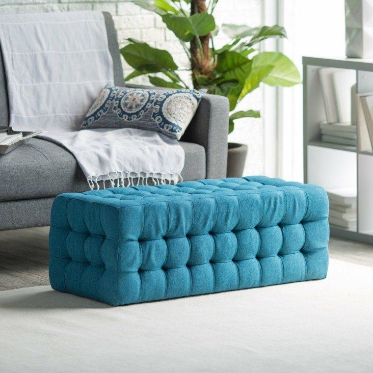 otomana preciosa azul vibrante planta maceta salon ideas