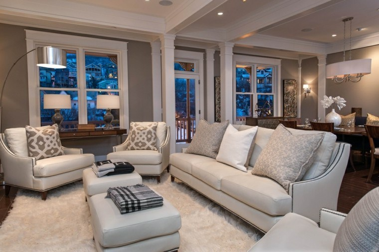 otomanas sofas mismo color precioso salon amplio ideas