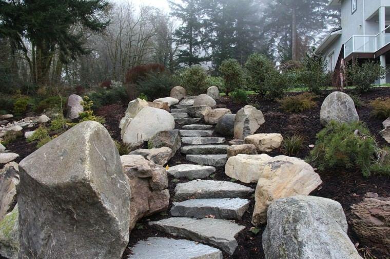 integrated landscape house morning rocks