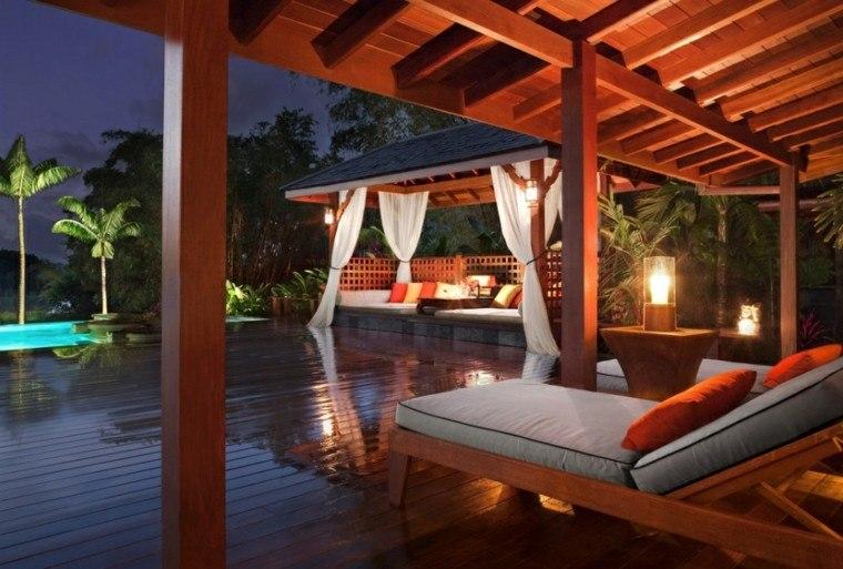 jardín tropical cenadores madera