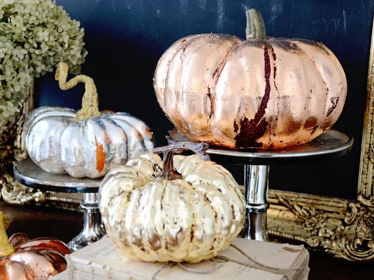 paisajes de otoño calabazas decorando mesa ideas