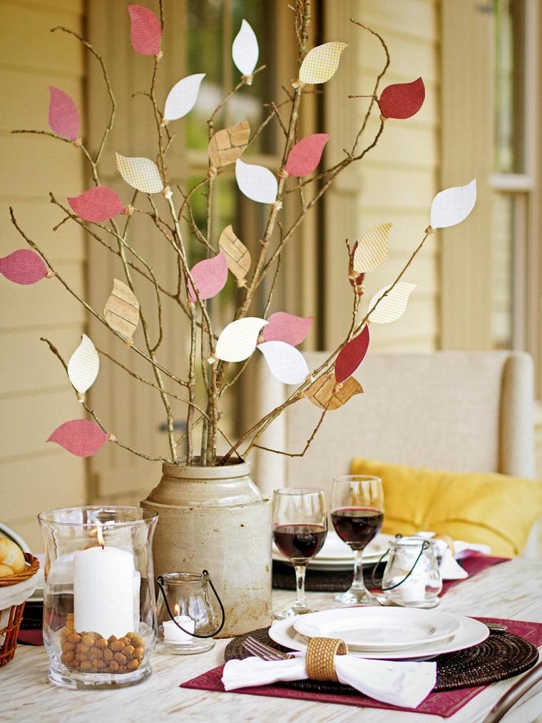 paisajes de otoño centro mesa ramos hojas papel ideas