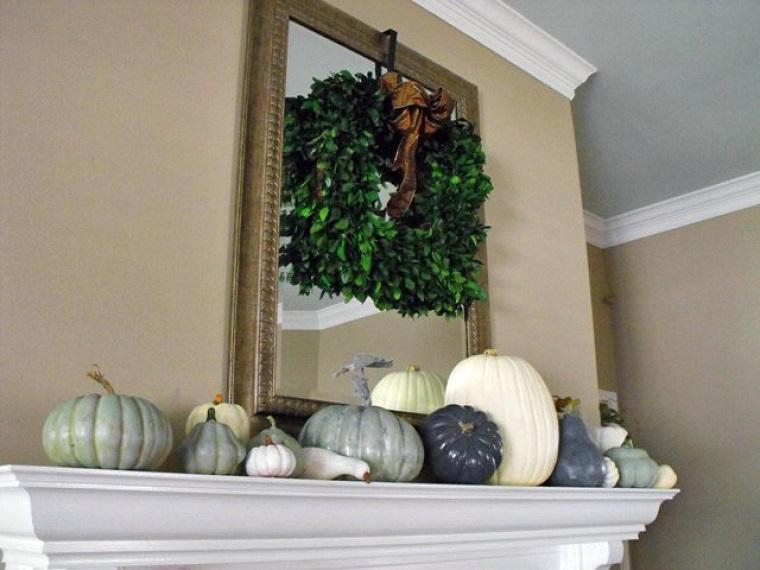 paisajes de otoño decoraciones chimenea casa calabazas ideas