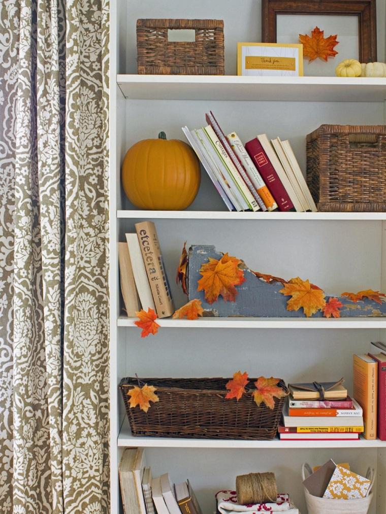 paisajes de otoño hojas secas estanterias decorando ideas