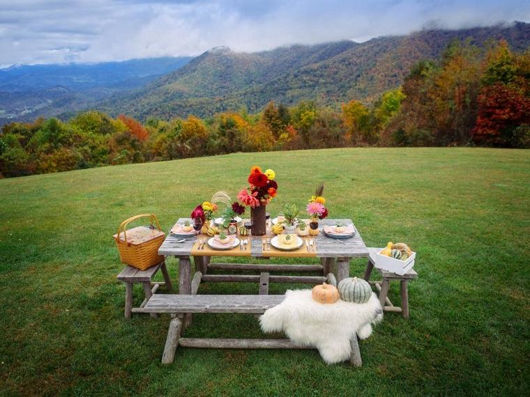 paisajes de otoño mesa picnic flores estacion ideas