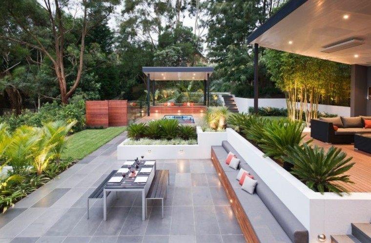 palmas grava patio led jardin