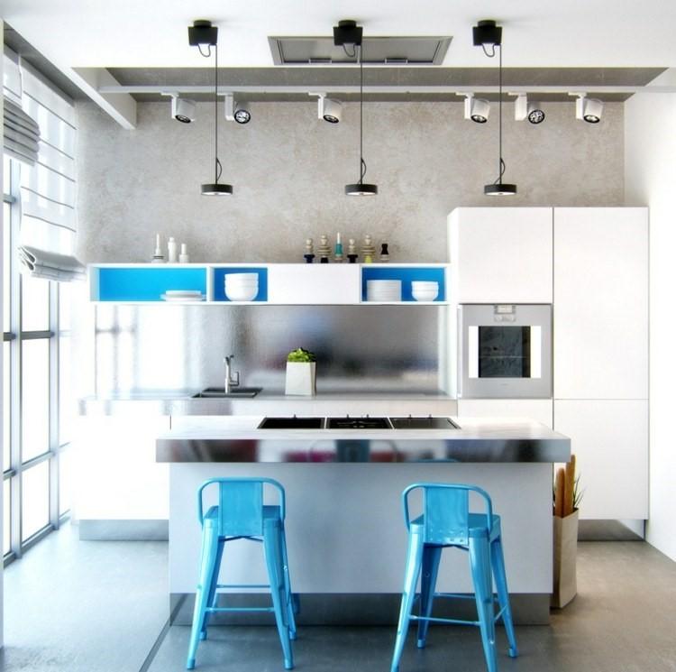 panel acero cocina isla sillas azules altas ideas