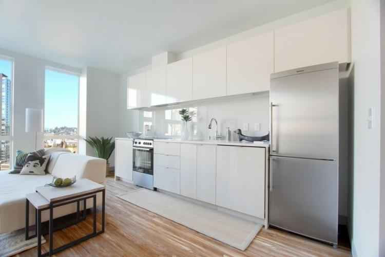 panel muebles blancos cocina abierta comedor ideas