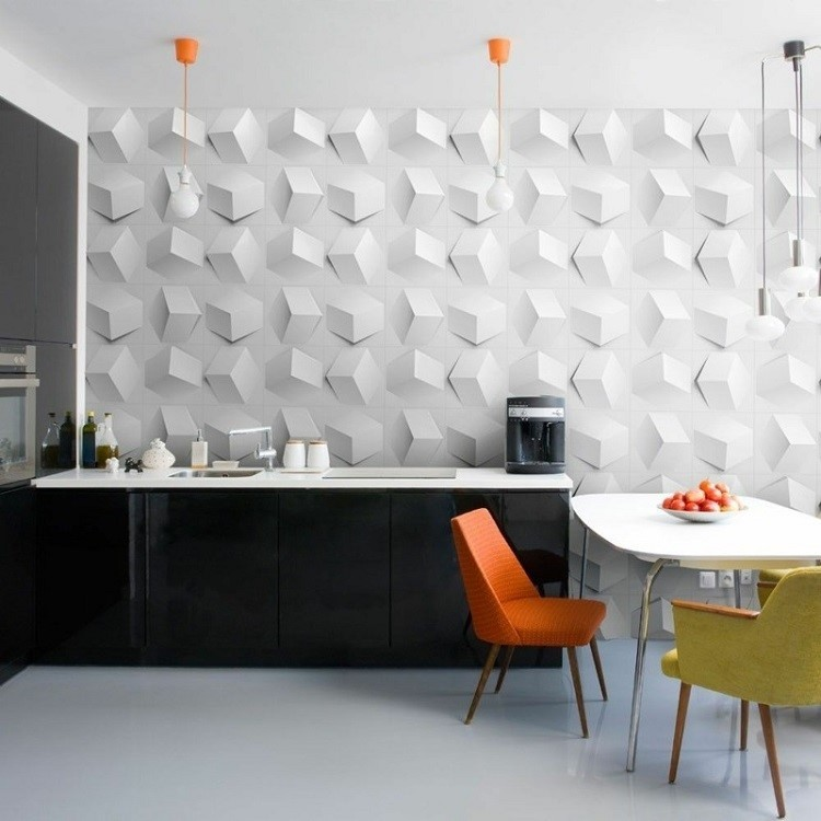 paneles decorativos color blanco cocina moderna ideas