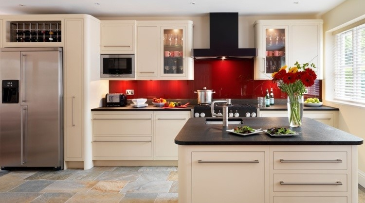 paneles decorativos color rojo brillante cocina ideas