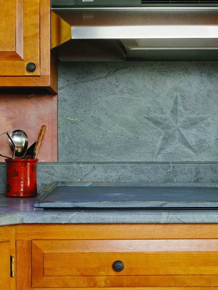 paneles decorativos granito gris estrella pared cocina ideas