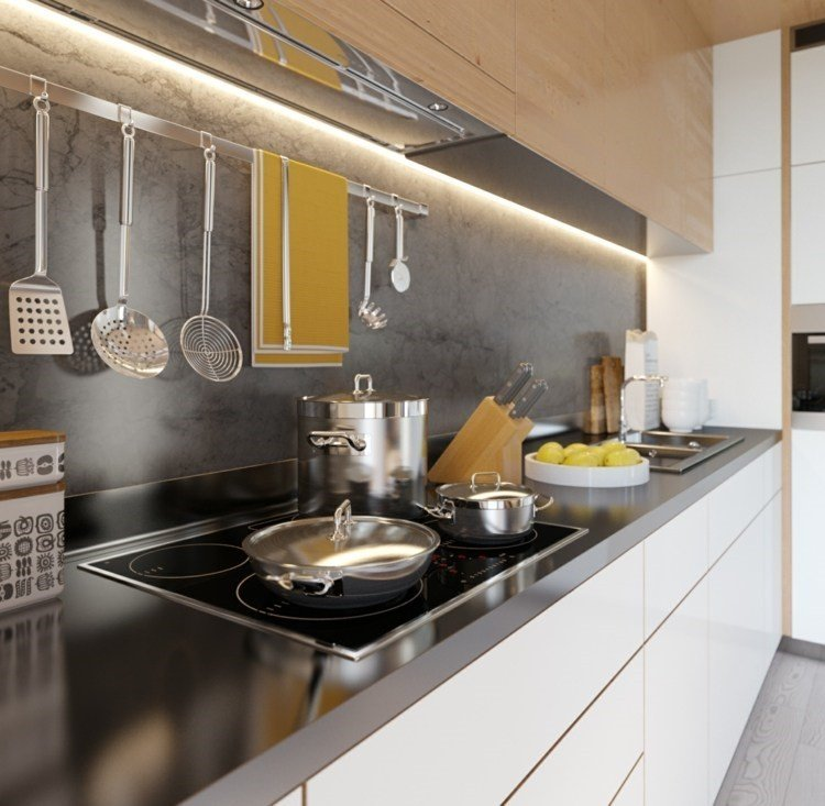 paneles decorativos granito gris liso pared cocina ideas