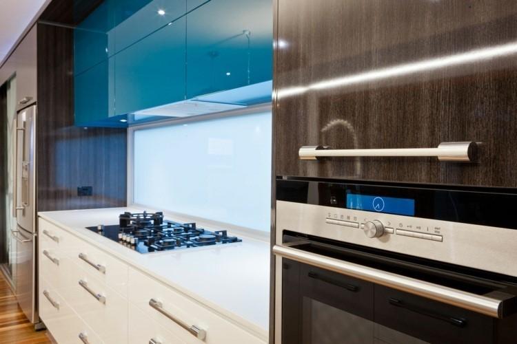 paneles decorativos iluminados plastico blanco cocina moderna ideas