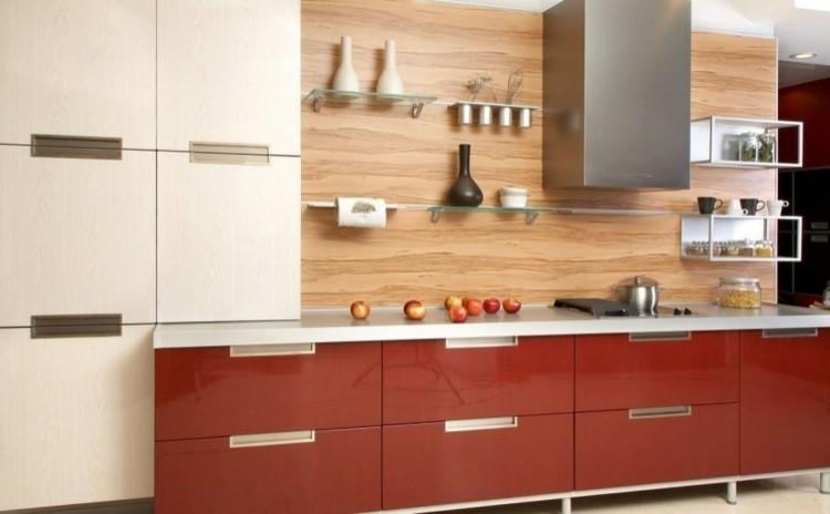 paneles decorativos imitan madera estanterias cristal ideas