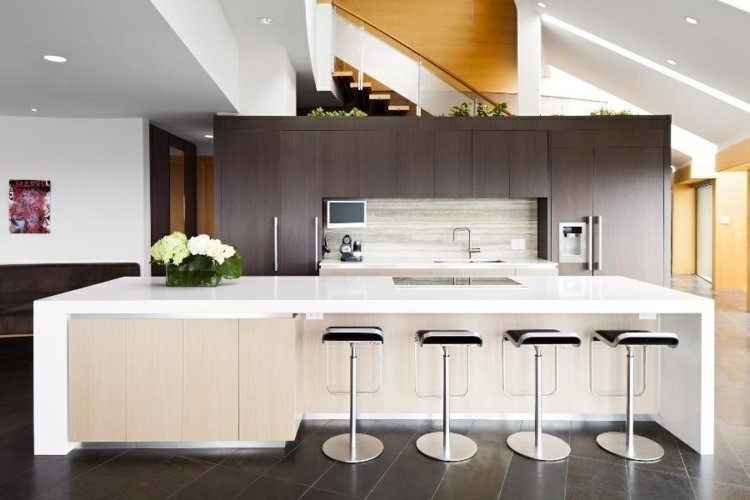 paneles decorativos marmol muebles madera cocina isla ideas