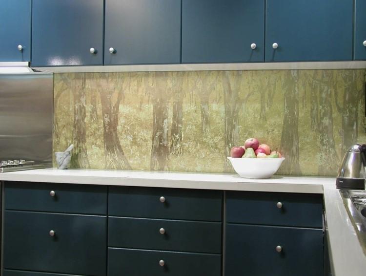 paneles preciosos cocina moderna estampa arboles ideas