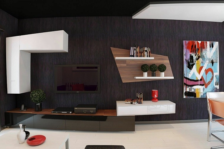 papel pared color marron oscuro estanterias salon ideas