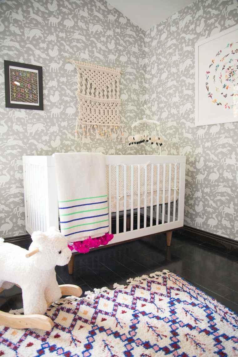 Decoracion habitacion bebe cincuenta dise os geniales - Papel pared gris ...