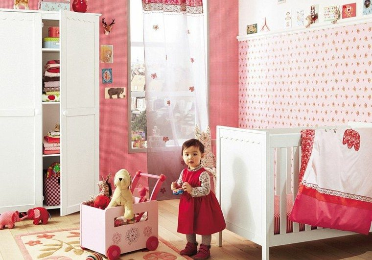 papel pared habitacion bebe rojo rosa blanco ideas