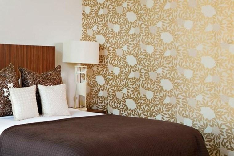 diseño papel pared hojas doradas