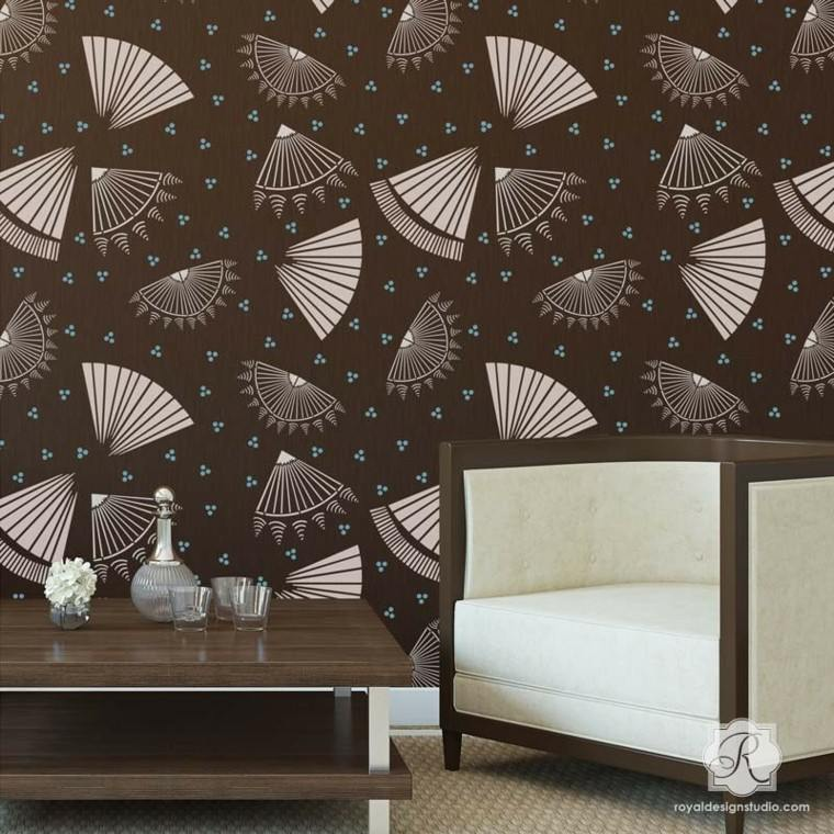 papel pared color marron abanicos