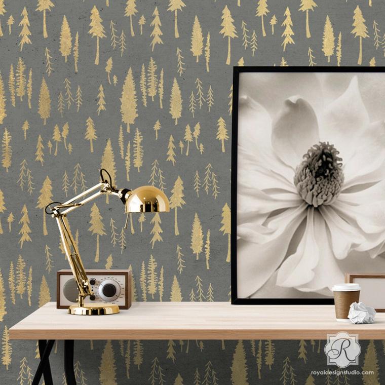 diseño papel pared pinos amarillos