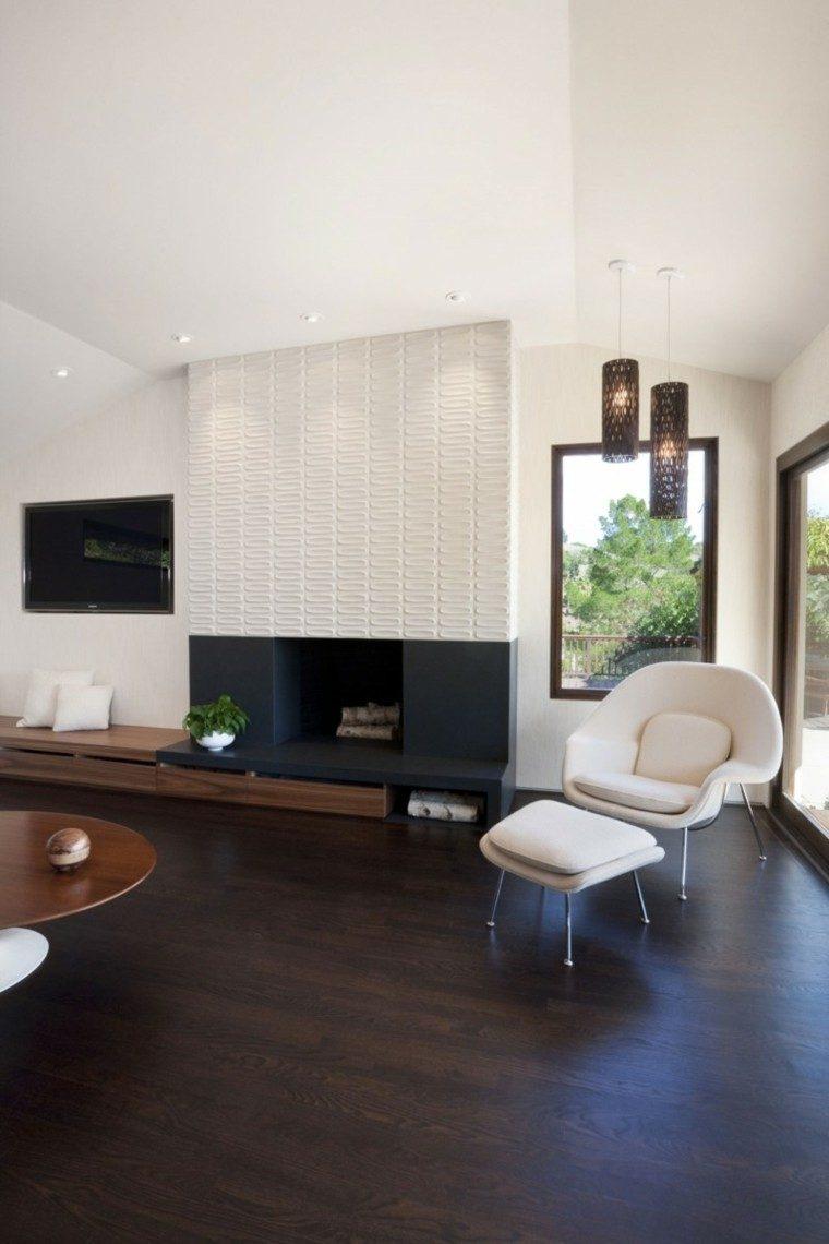 pared blanca original salon moderno diseno ideas