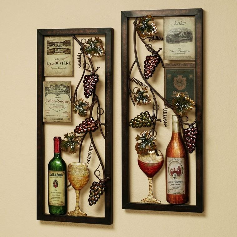 pared cocina botellas uvas metal