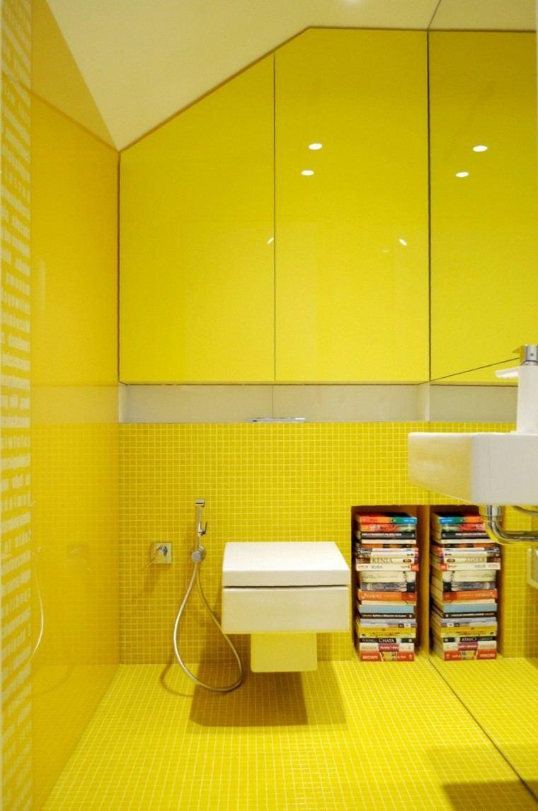 pared color amarillo vibrante bano moderno ideas