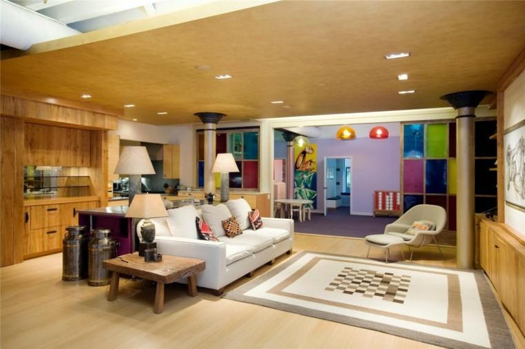 pared cuadros colores llamativos loft moderno ideas