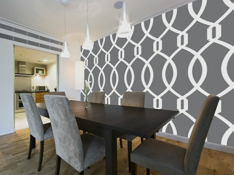pared decorada comedor gris blancos