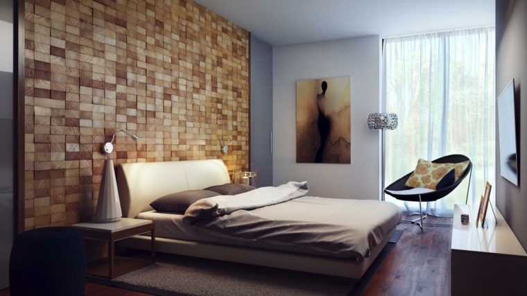 pared diseño cuadros taburete madera