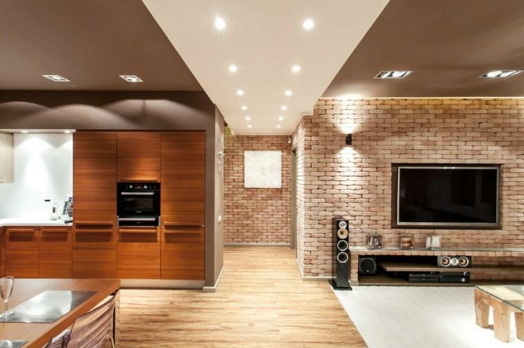 pared diseño ladrillos cocina led