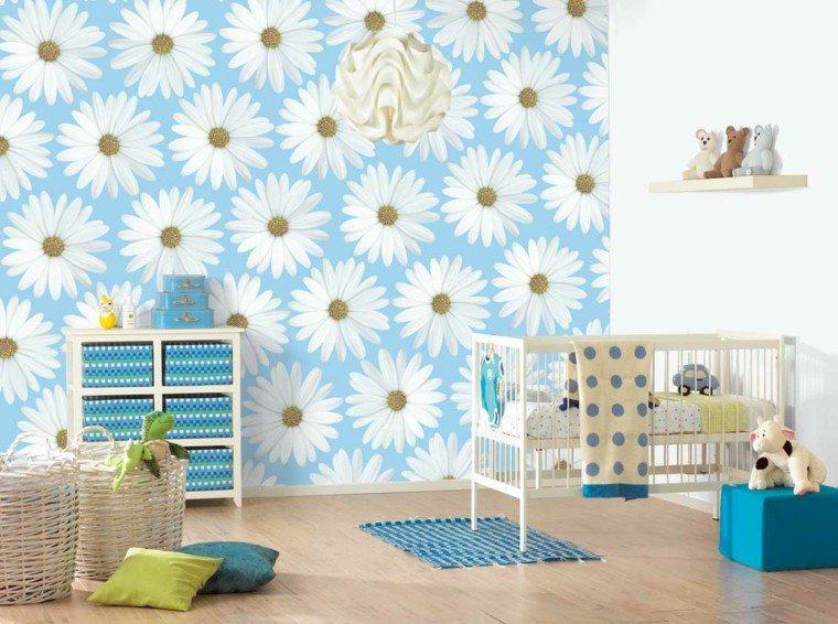 pared dormitorio bebé margaritas blancas