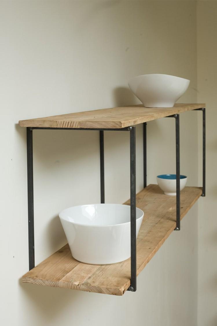 pared estanteria madera acero negro hecho mano ideas