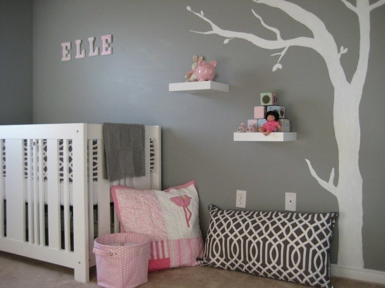 pared color gris arbol blanco