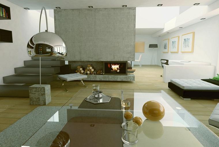 pared gris chimenea salon moderno ideas