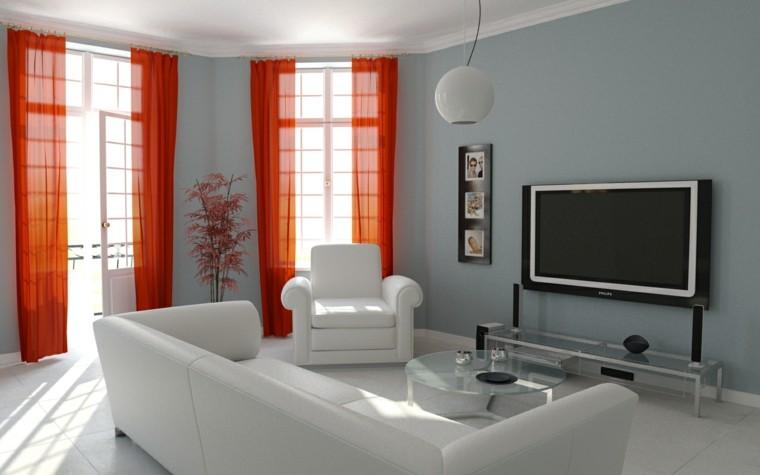 pared color gris cortinas naranjes