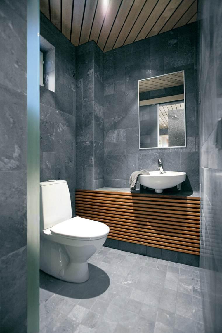 pared gris madera diseño espejo
