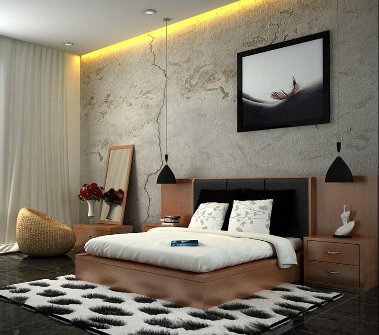 pared hormigon cama madera alfombra dormitorio ideas