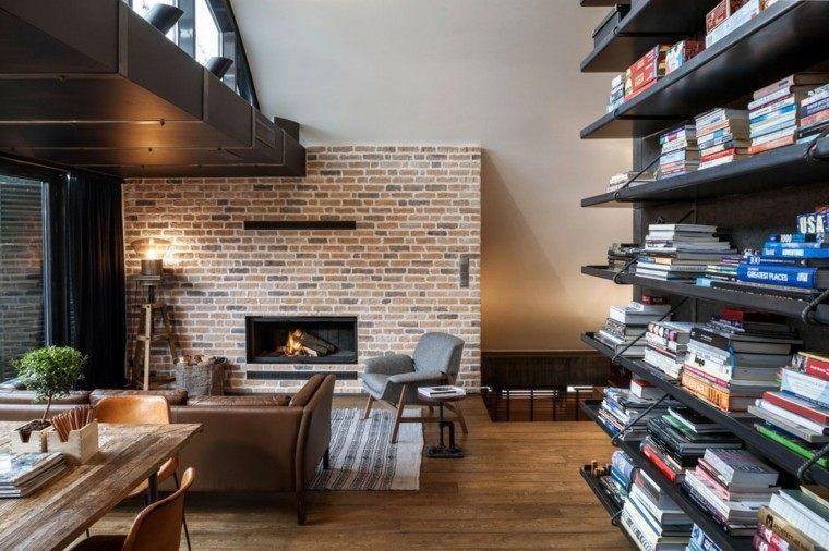 pared ladrillo chimenea madera salon moderno ideas