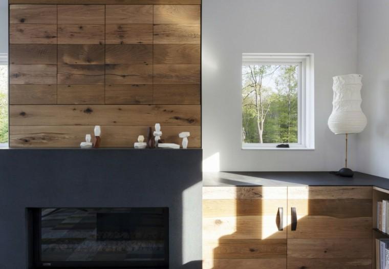 pared madera chimenea hormigon negro moderna ideas