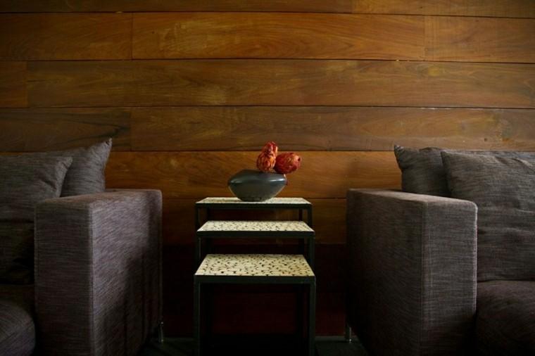 pared madera negra salon moderno ideas