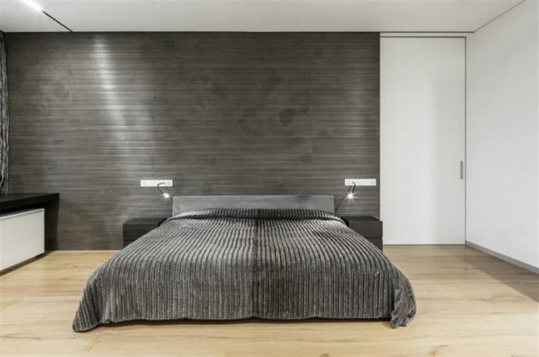 pared minimalista espacio terreno lamparas