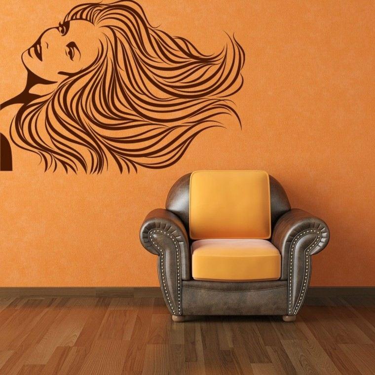 pared color naranja pegatina vinilo mujer