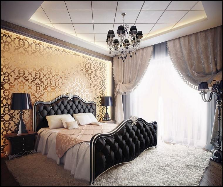 pared oro cama negra dormitorio romantico ideas