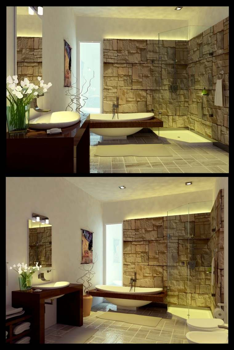 pared piedra preciosa bano moderno estilo ideas