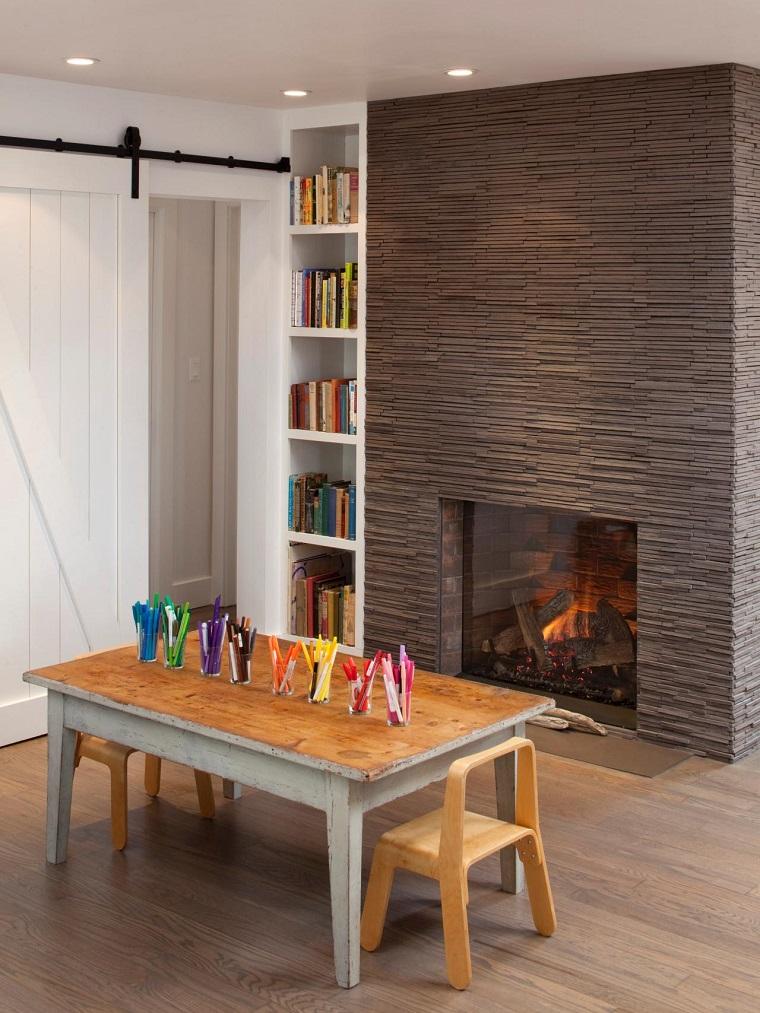 pared preciosa chimenea habitacion ninos juegos ideas