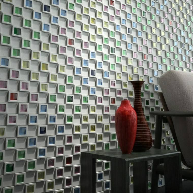 pared preciosa mosaico distintos colores original ideas